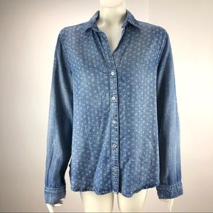 Bella Dahl Chambray Style Button Shirt Blouse L